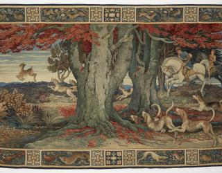 'The Chace Tapestry' depicting a hunting scene in the New Forest, Hampshire. Designed by Heyward Sumner in 1909