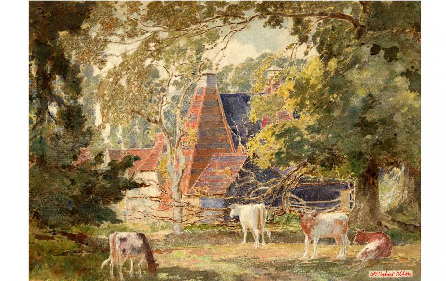 'Binsted Oast Houses', painted by W.H. Allen, around 1900