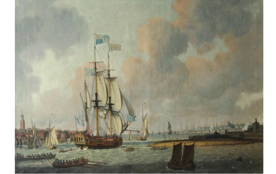 'Royal Yacht leaving Portsmouth Harbour' by John Cleveley. Painted in the mid 18th century.