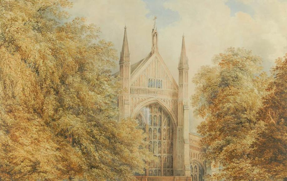 'West Front of Winchester Cathedral', by G. Prosser, dated 1849