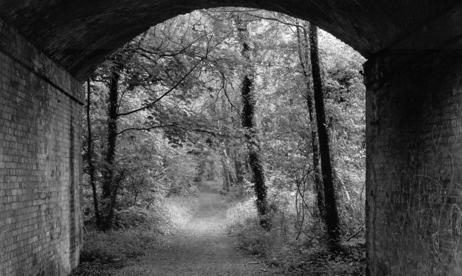 black and white image looking through disused railway line bridge to trees in the background