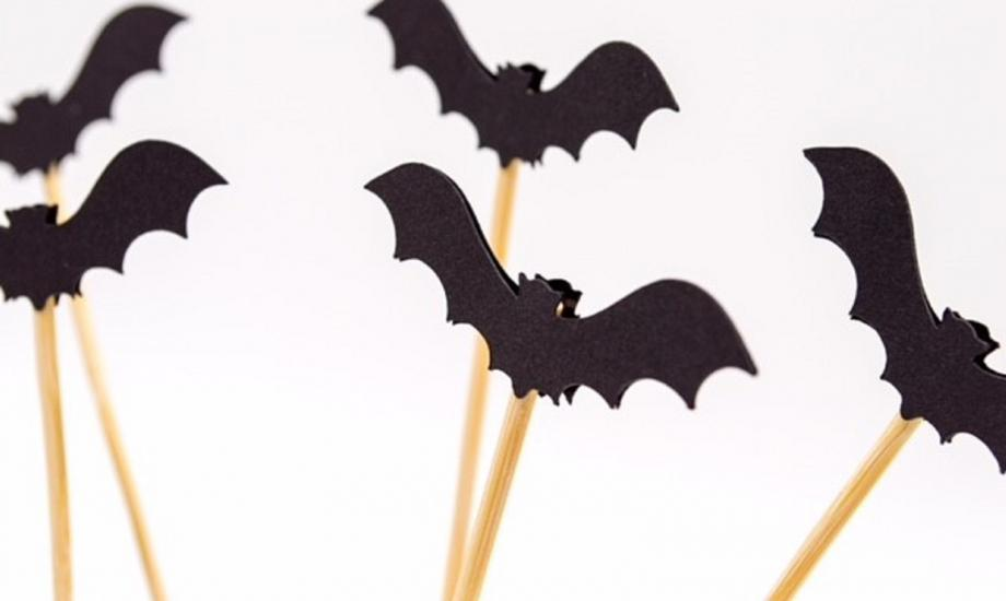 cut out black bat shaped card on sticks
