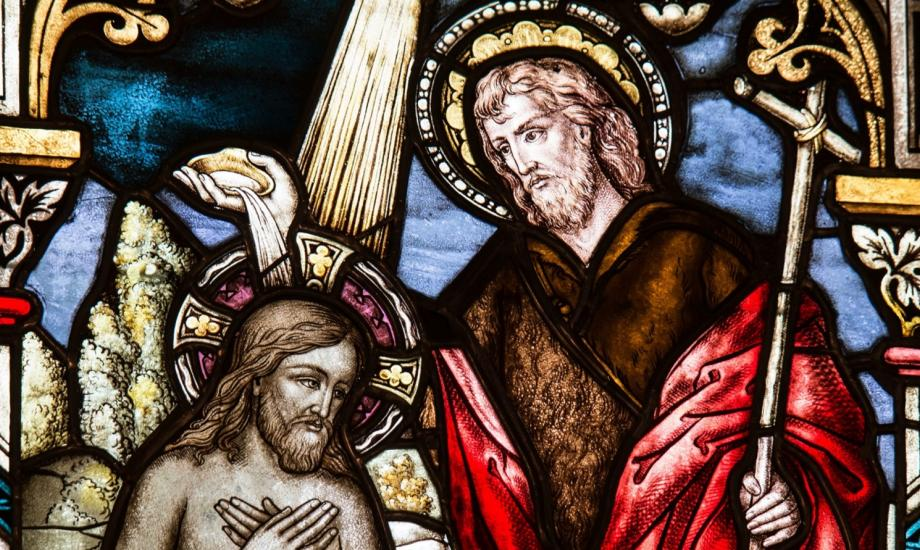 stained glass image of christ