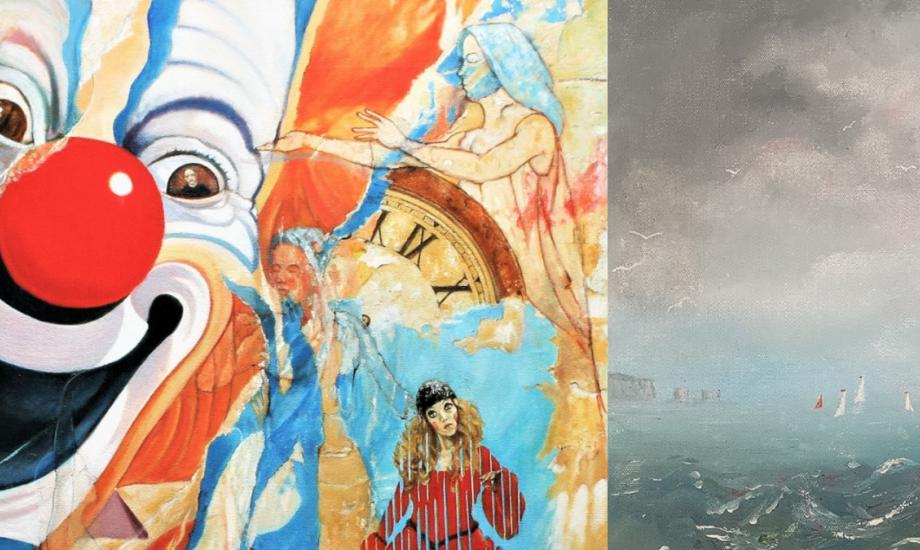 paintings of clown and seascape