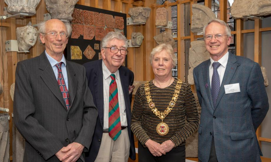 L-R: David Spurling, Hyde 900; Professor Martin Biddle, Professor Emeritus of Medieval Archaeology at The University of Oxford, Cllr Eleanor Bell, Mayor of Winchester, Alan Lovell, Chairman of Hampshire Cultural Trust at the opening of the Gallery of 1000 Years