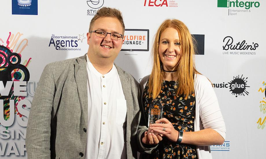 Jamie Allen and Lucy Crockford collecting the Best Venue Teamwork: Arts Centre award