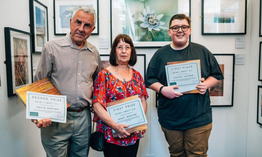 L-R: David Barton, second prize in the 18+ category; Janet Barton, first prize in the 18+ category; Freddy Cairns, first prize in the age 8-17 category.