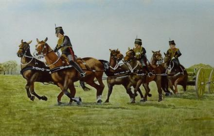 PAINTED IMAGE OF SOLDIERS ON HORSES