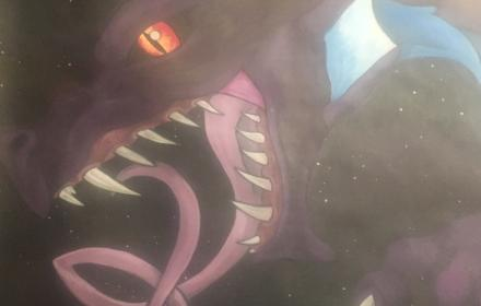 Painting of mystical purple dragon