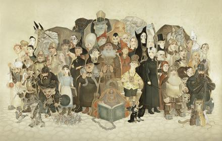 Terry Pratchett characters stood together