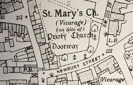 Map of Andover focusing on St Marys church