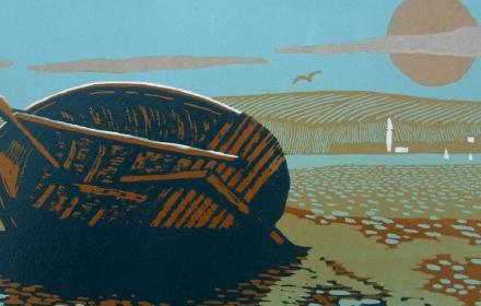 print of boat at low tide