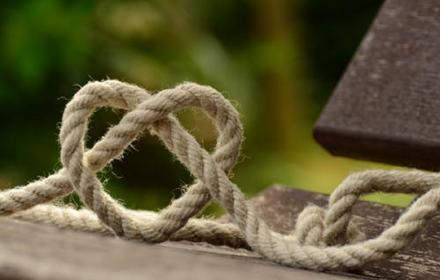 Rope made in shape of a celtic heart