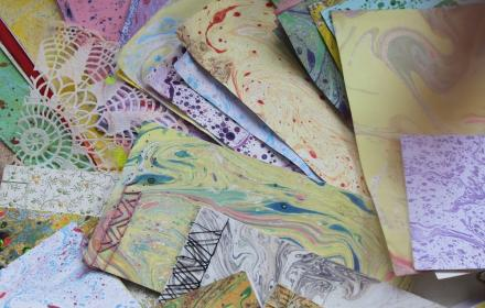Craft Class with a wine glass: Marbling and Book Binding